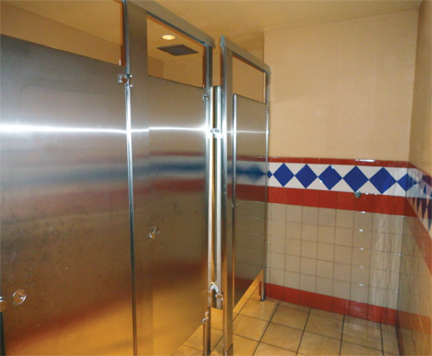 Stainless restroom partitions allied stainlessallied for Stainless steel bathroom partitions